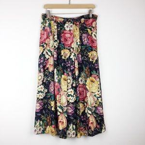 Vintage dark floral midi skirt high waisted boho